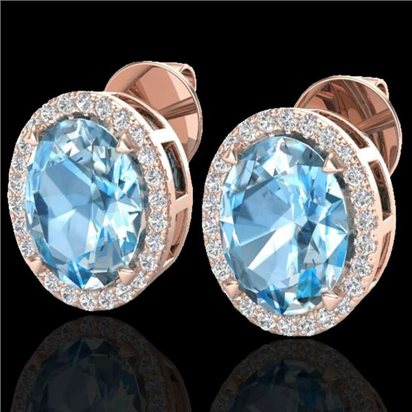 5.50 ctw Sky Blue Topaz & Micro VS/SI Diamond Earrings 14k Rose Gold - REF-45W2H