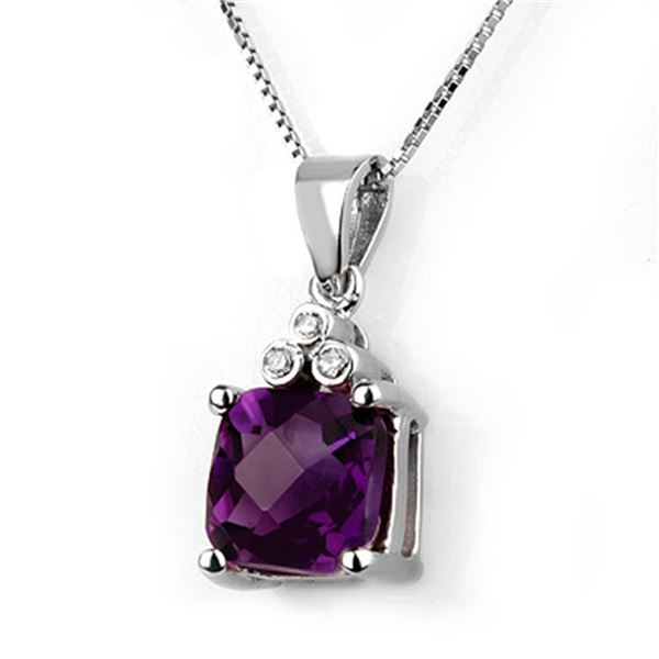 3.06 ctw Amethyst & Diamond Necklace 18k White Gold - REF-32H2R