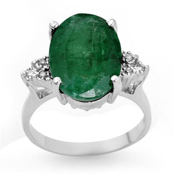 6.35 ctw Emerald & Diamond Ring 14k White Gold - REF-90W9H