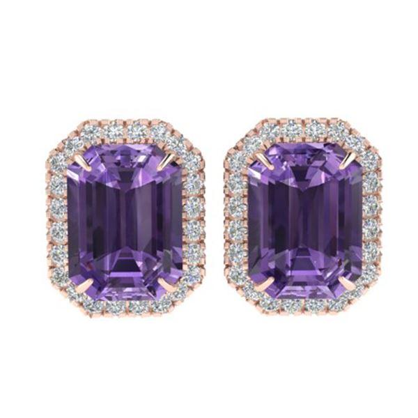 9.40 ctw Amethyst & Micro Pave VS/SI Diamond Earrings 14k Rose Gold - REF-55M2G