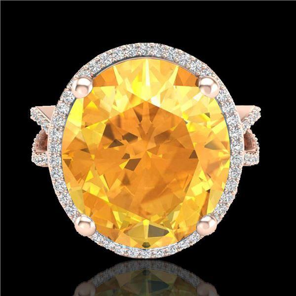 10 ctw Citrine & Micro Pave VS/SI Diamond Ring 14k Rose Gold - REF-55X2A