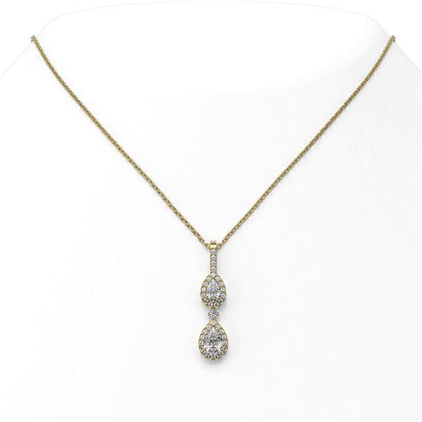 1.25 ctw Pear Cut Diamond Designer Necklace 18K Yellow Gold - REF-141F4M