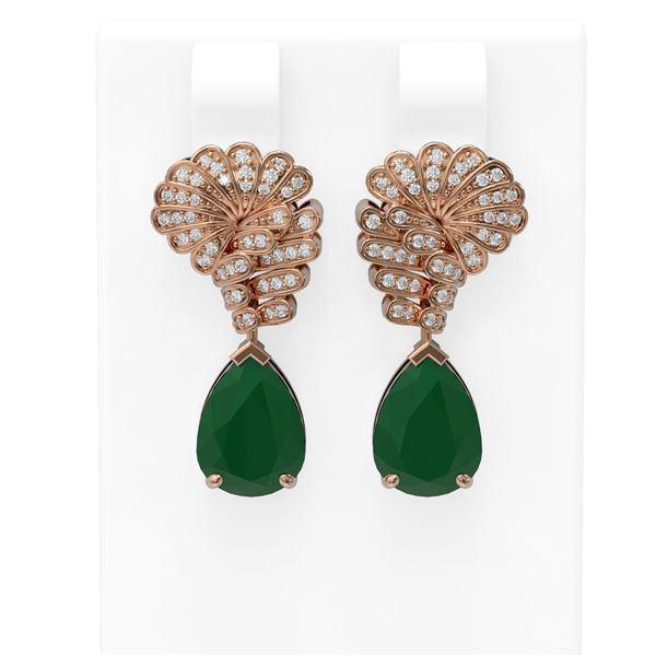 7.73 ctw Emerald & Diamond Earrings 18K Rose Gold - REF-178G2W