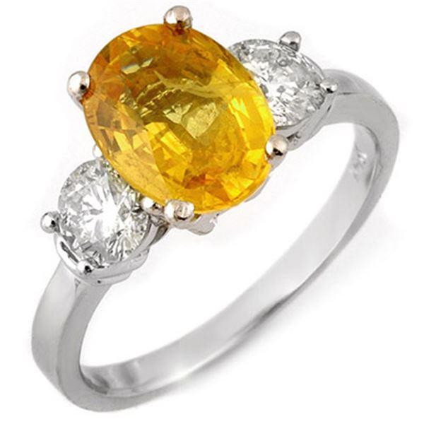 3.75 ctw Yellow Sapphire & Diamond Ring 14k White Gold - REF-121H8R
