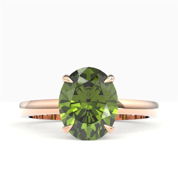 3 ctw Green Tourmaline Designer Ring 14k Rose Gold - REF-40K9Y