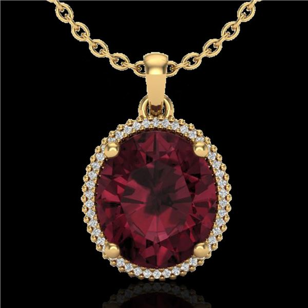 11 ctw Garnet & Micro Pave VS/SI Diamond Necklace 18k Yellow Gold - REF-55K2Y