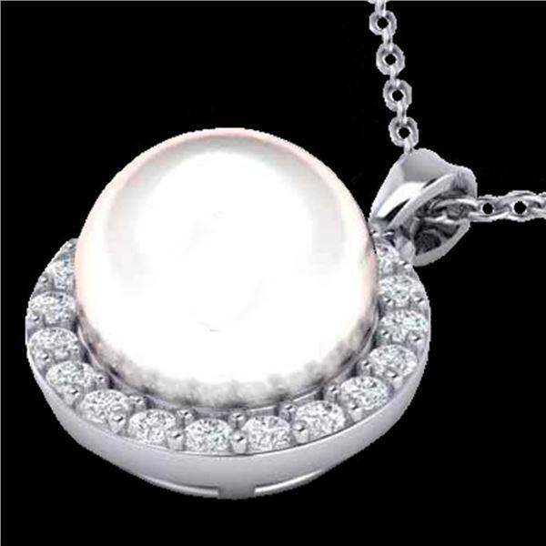 0.25 ctw Micro VS/SI Diamond & White Pearl Necklace 18k White Gold - REF-30W8H