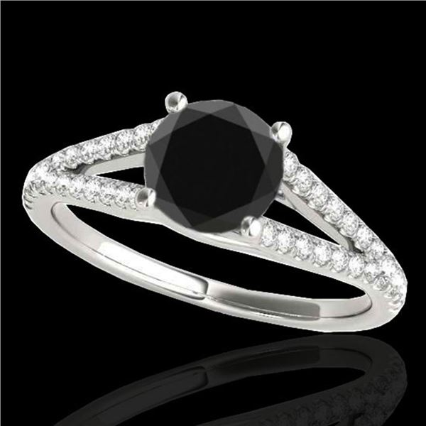 1.25 ctw Certified VS Black Diamond Solitaire Ring 10k White Gold - REF-47A8N