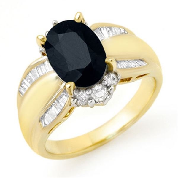 3.42 ctw Blue Sapphire & Diamond Ring 14k Yellow Gold - REF-90K8Y