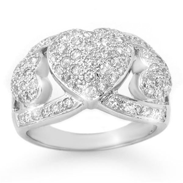 1.50 ctw Certified VS/SI Diamond Ring 18k White Gold - REF-150H8R