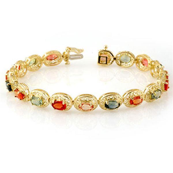 12.90 ctw Multi-color Sapphire Bracelet 10k Yellow Gold - REF-118F2M