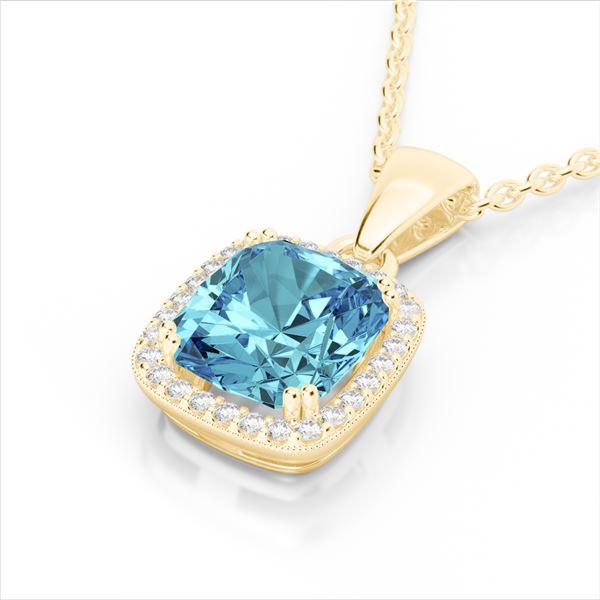 3.50 ctw Sky Blue Topaz & Micro VS/SI Diamond Necklace 18k Yellow Gold - REF-40W2H