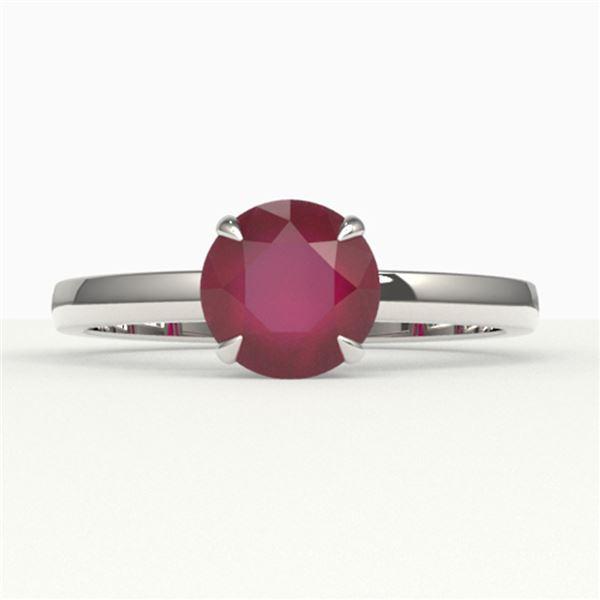 2 ctw Ruby Designer Engagment Ring 18k White Gold - REF-26Y3X