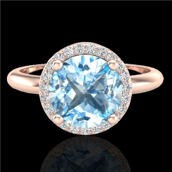 2.70 ctw Sky Blue Topaz & Micro VS/SI Diamond Ring 14k Rose Gold - REF-34R2K