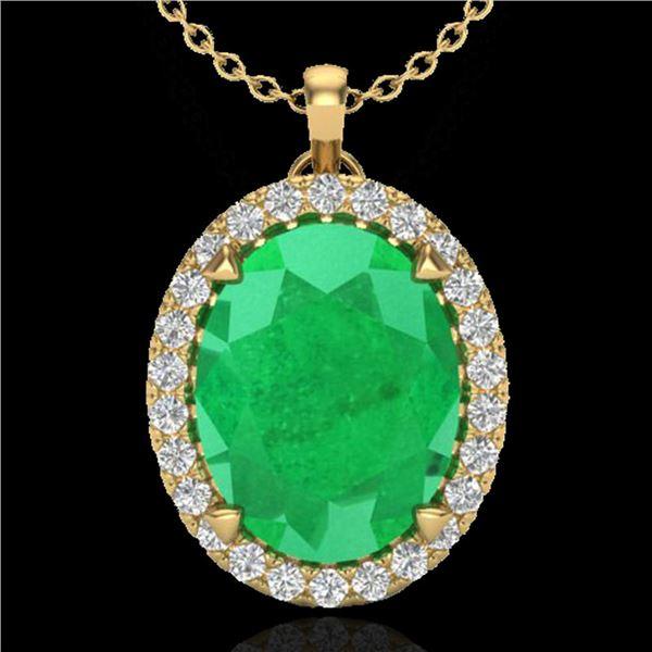 2.75 ctw Emerald & Micro VS/SI Diamond Halo Necklace 18k Yellow Gold - REF-46A5N