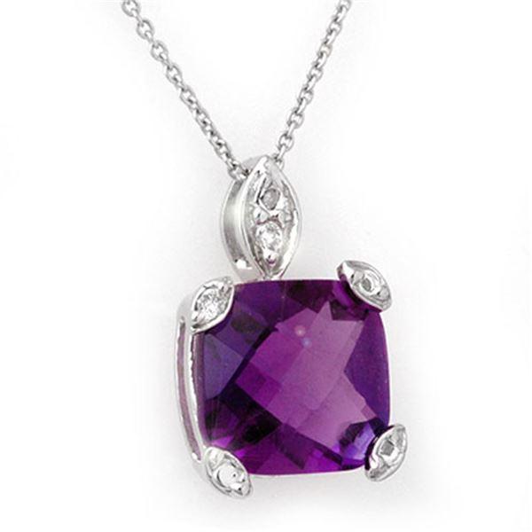 7.10 ctw Amethyst & Diamond Necklace 14k White Gold - REF-27R5K