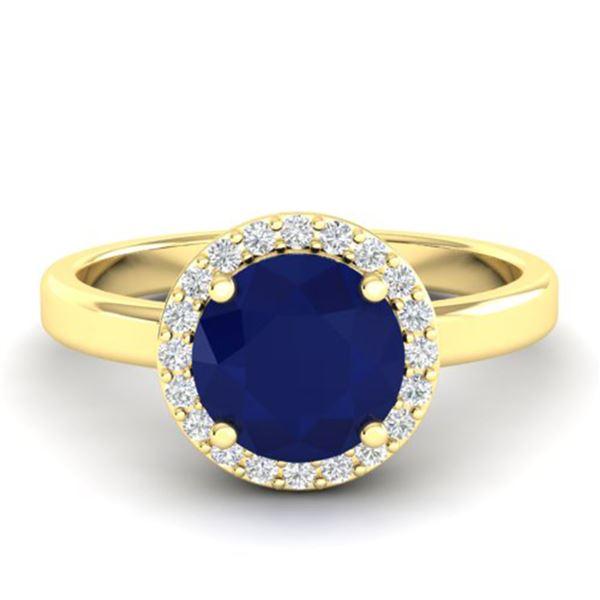 2 ctw Sapphire & Halo VS/SI Diamond Micro Pave Ring 18k Yellow Gold - REF-39F5M
