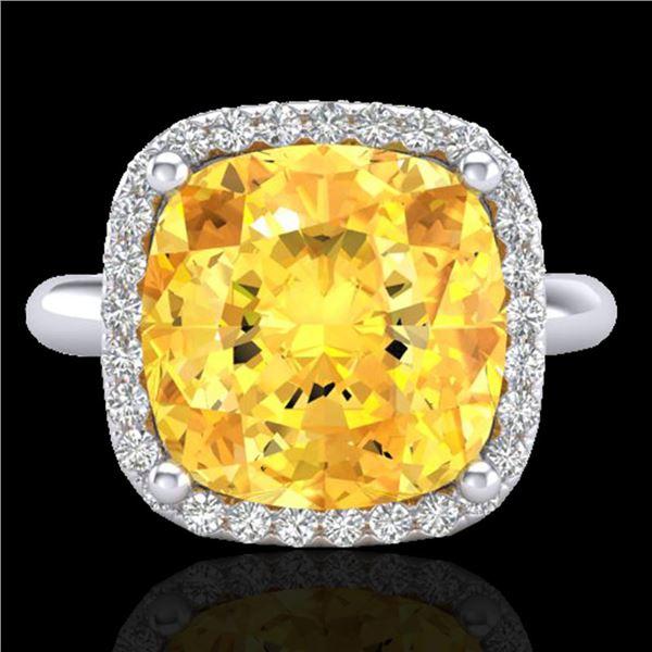 6 ctw Citrine & Micro Pave Halo VS/SI Diamond Ring 18k White Gold - REF-45F3M