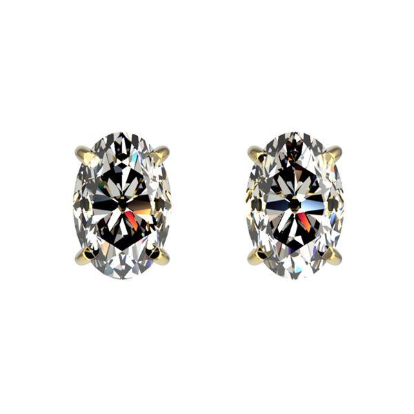 1 ctw Certified VS/SI Quality Oval Diamond Stud Earrings 10k Yellow Gold - REF-120R3K