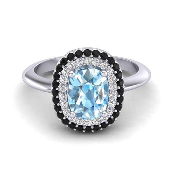 2.50 ctw Sky Blue Topaz With Black & Micro Diamond Ring 14k White Gold - REF-52M8G
