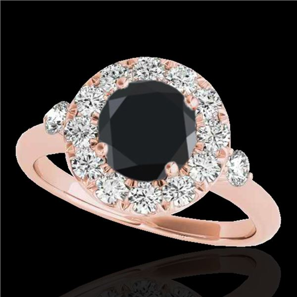 1.5 ctw Certified VS Black Diamond Solitaire Halo Ring 10k Rose Gold - REF-51X8A