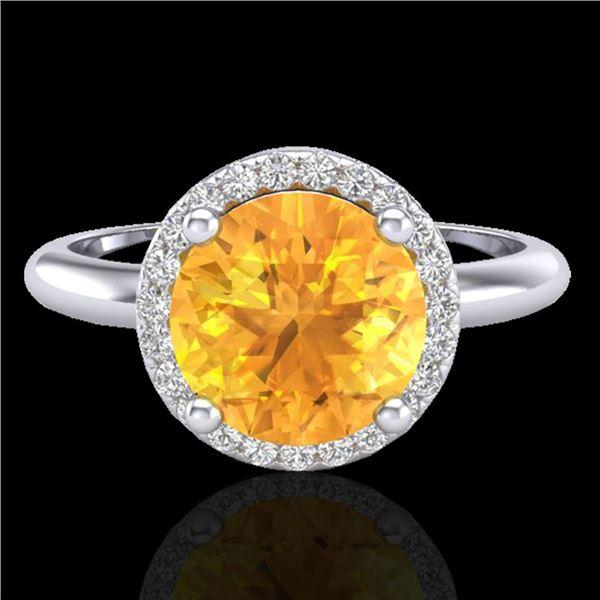 2 ctw Citrine & Micro VS/SI Diamond Ring Designer 18k White Gold - REF-45R2K