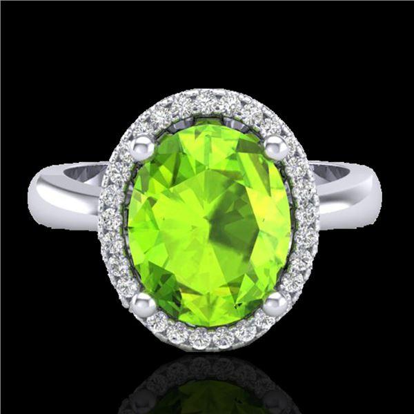 2.50 ctw Peridot & Micro Pave VS/SI Diamond Ring 18k White Gold - REF-42X4A