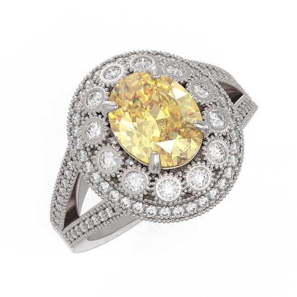 3.75 ctw Canary Citrine & Diamond Victorian Ring 14K White Gold - REF-129H3R