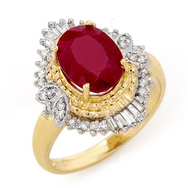 3.24 ctw Ruby & Diamond Ring 14k Yellow Gold - REF-72R8K