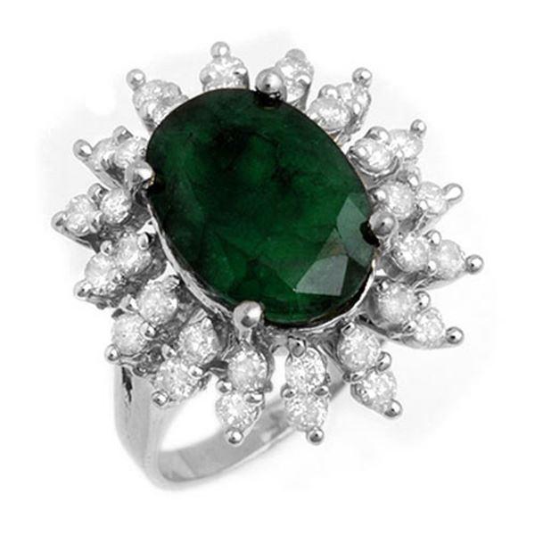 6.45 ctw Emerald & Diamond Ring 18k White Gold - REF-132H9R
