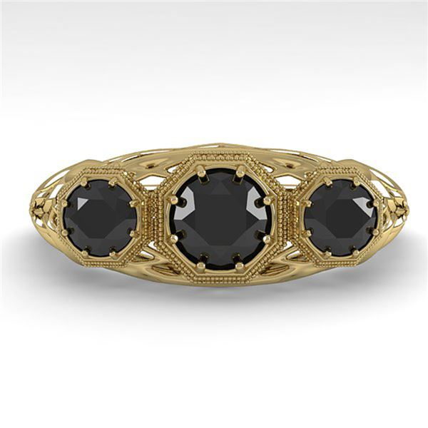 1.00 ctw Past Present Future Black Diamond Ring 18k Yellow Gold - REF-53K5Y