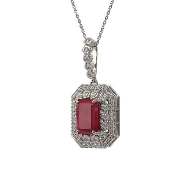7.18 ctw Certified Ruby & Diamond Victorian Necklace 14K White Gold - REF-172X8A