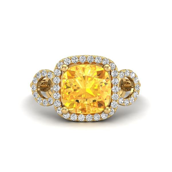 3.75 ctw Citrine & Micro VS/SI Diamond Certified Ring 18k Yellow Gold - REF-50W4H