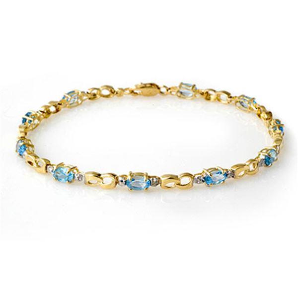2.76 ctw Blue Topaz & Diamond Bracelet 10k Yellow Gold - REF-21K3Y