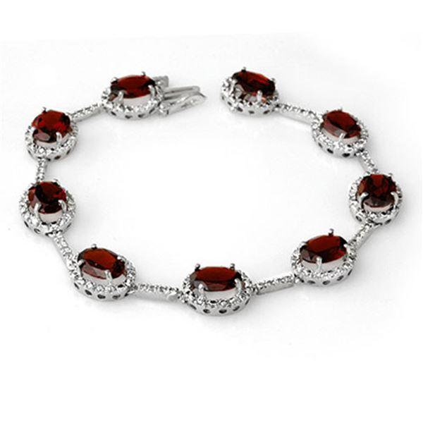 16.33 ctw Garnet & Diamond Bracelet 14k White Gold - REF-136G8W