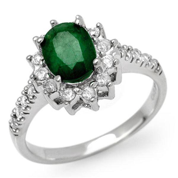 1.95 ctw Emerald & Diamond Ring 18k White Gold - REF-95Y5X