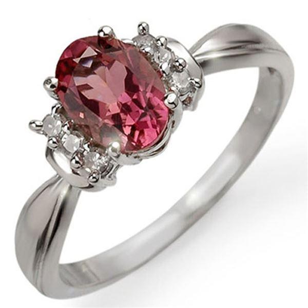 1.06 ctw Pink Tourmaline & Diamond Ring 10k White Gold - REF-17H2R