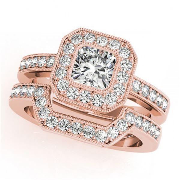 1.05 ctw Certified VS/SI Cushion Diamond 2pc Set Halo 14k Rose Gold - REF-128M2G