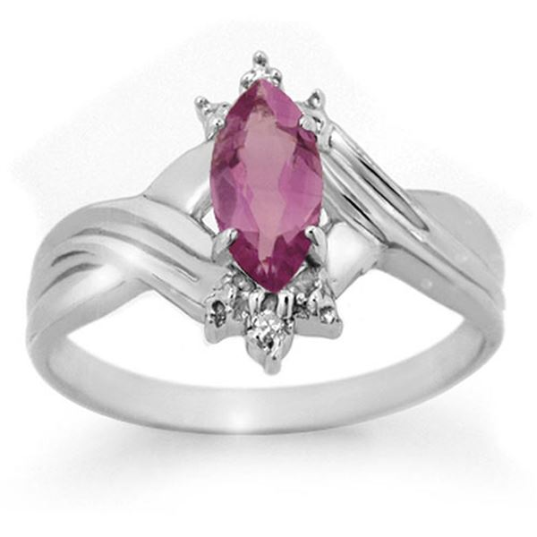 0.51 ctw Amethyst & Diamond Ring 10k White Gold - REF-11R2K