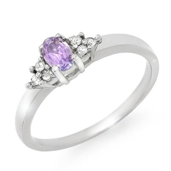 0.31 ctw Tanzanite & Diamond Ring 18k White Gold - REF-25M8G