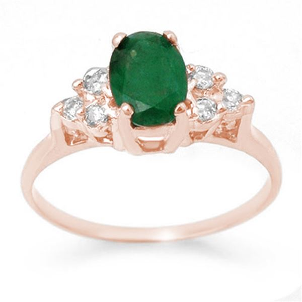 1.18 ctw Emerald & Diamond Ring 14k Rose Gold - REF-19N8F