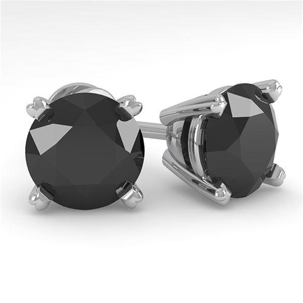 4.0 ctw Black Diamond Stud Designer Earrings 14k White Gold - REF-84X8A