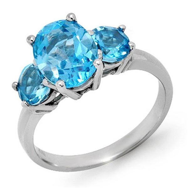 3.25 ctw Blue Topaz Ring 10k White Gold - REF-21W8H