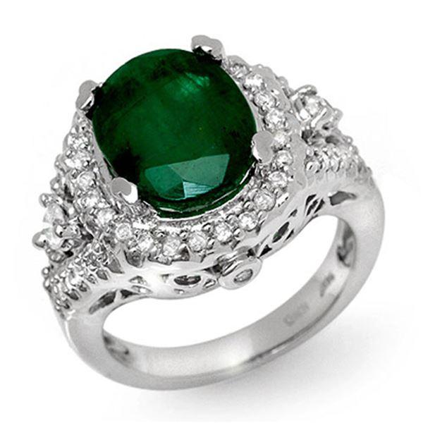 6.15 ctw Emerald & Diamond Ring 14k White Gold - REF-126G2W