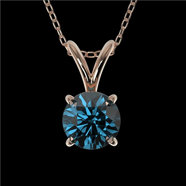 0.51 ctw Certified Intense Blue Diamond Necklace 10k Rose Gold - REF-34H4R