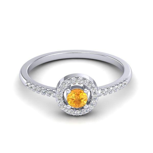 0.50 ctw Citrine & Micro Pave VS/SI Diamond Ring Halo 18k White Gold - REF-27M3G