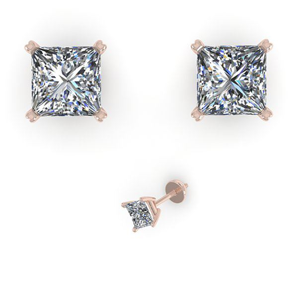 1.00 ctw Princess Cut VS/SI Diamond Designer Earrings 14k White Gold - REF-121H5R