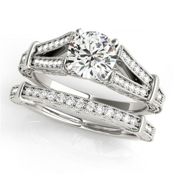 0.91 ctw Certified VS/SI Diamond 2pc Wedding Set Antique 14k White Gold - REF-111X4A