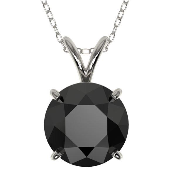 2 ctw Fancy Black Diamond Solitaire Necklace 10k White Gold - REF-35N6F