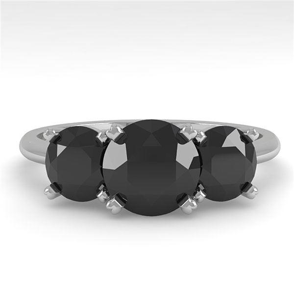 2 ctw Black Diamond Past Present Future Designer Ring 14k White Gold - REF-48M2G